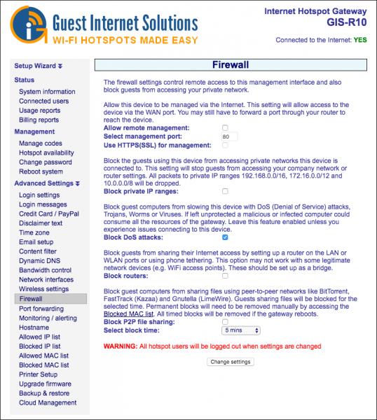 Firewall | Guest Internet