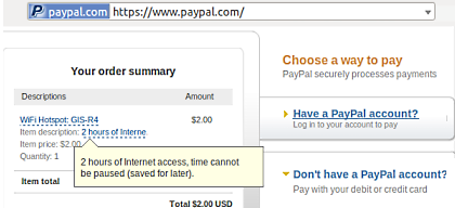 WiFi Hotspot payment with PayPal™
